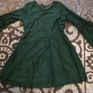 Lace hunter green alone dress with bell sleeves